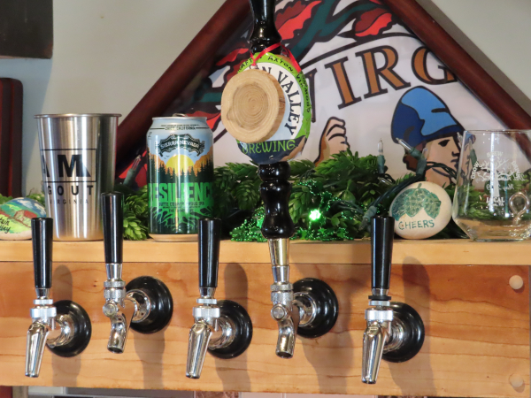 Photo of the taps in the Mountain Valley Brewing tasting room