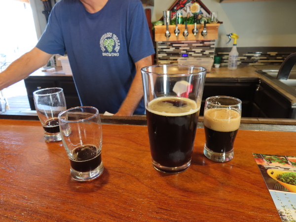 A Glass of Porter's Porter and a few samples