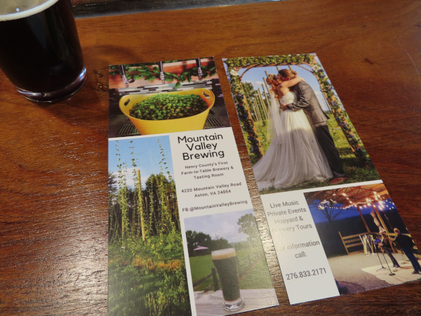 Mountain Valley Brewing Pamphlet Advertising as a Venue