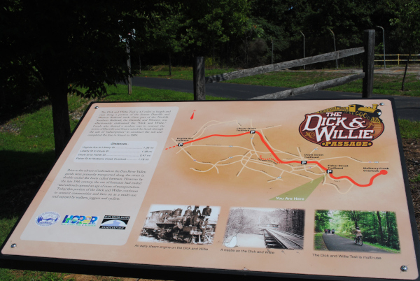 A sign post along the Dick & Willie Trails shows that it is a well maintained trail.
