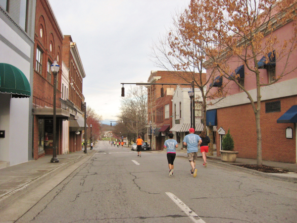 Running hoofing it through Martinsville Uptown as part of the Miles in Martinsville 5K