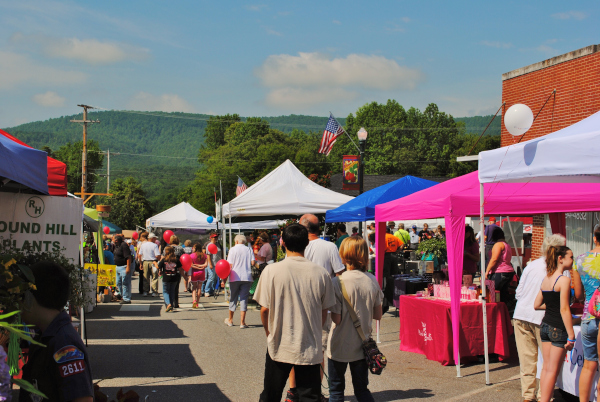 Strawberry Festival has a lot of vendors and is held in uptown Stuart with a backdrop of forested foothills