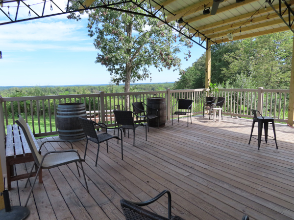 The back deck of the pavilion is a wooden deck with railings, a vaulted ceiling, and a fantastic view.