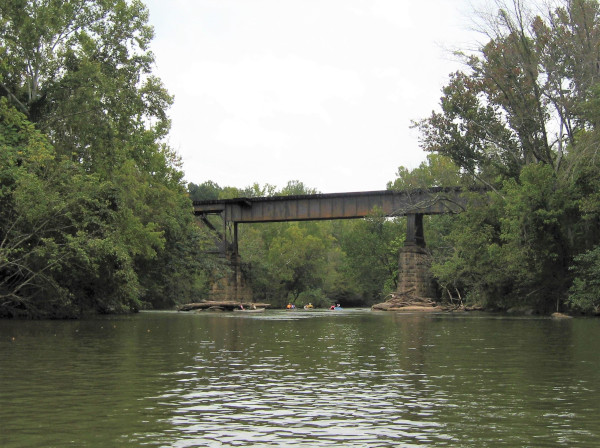 A Train Tressel Crosses Overhead
